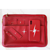 Red Chaos X One Gun Leather Laptop Case with gold hardware