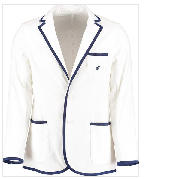 A white with blue lining on the pockets and wrists. This Toweling blazer is made from terry velour. Sheared on the outside giving the blazer a super soft velvety finish. The terry cloth is looped on the inside like your standard beach towel, like a robe it'll actually get you dry.