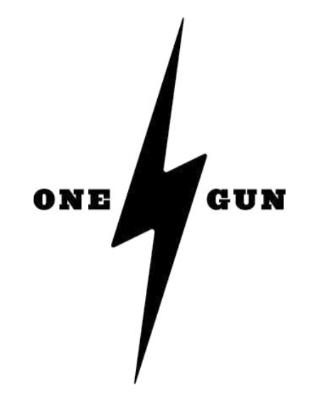 One Gun Black Lightning Bolt T-Shirt