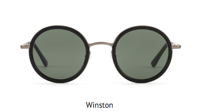OTIS Eyewear-WINSTON sunglasses. Black round fame with gray lenses.