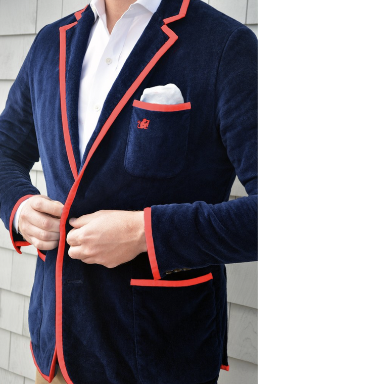BASK Navy Blazer, Red Piping