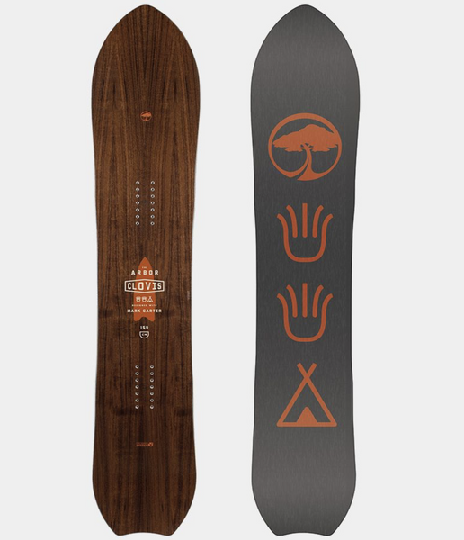 The board to the right shows the bottom. It is gray and there are 4 orange designs in a line from top to bottom. The left shows the top of the board. It is a dark wood finish with the company logo in the center.