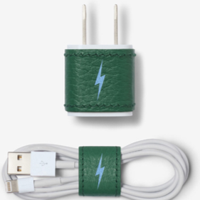 Chaos leather charger sticker and cable wrap. Leather is green with a blue one gun lightning bolt down the middle