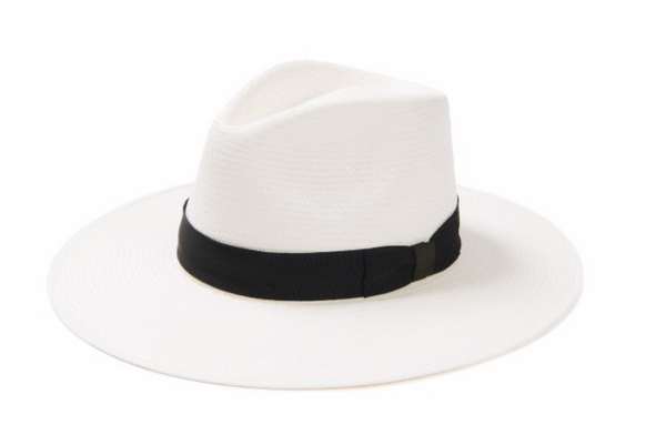 "The Stetson Santa Monica Fedora is constructed of firm finish shantung straw and features a teardrop crown, wide brim, interior cowhide sweatband and is finished with a wide grosgrain hat band. Shantung Straw, Made in the U.S.A. Brim: 3 1/2"", Crown: 4 1/2"" Shantung Collection"