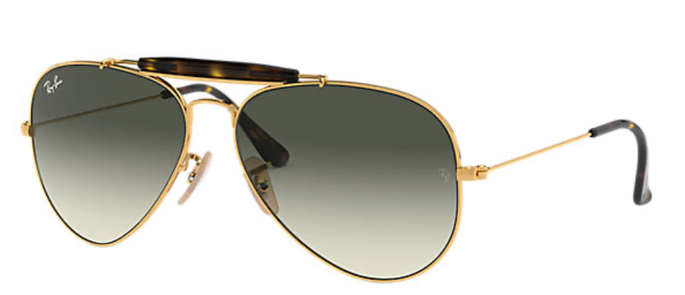 RB3029 Outdoorsman II. Ray Ban gold chrome frame with gray lenses.