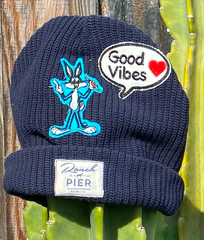 Momo X One Gun Navy Blue Beanie with a bugs bunny patch on it