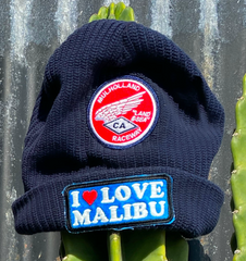 Momo X One Gun Navy Blue Beanie with a mulhollland raceway patch on it