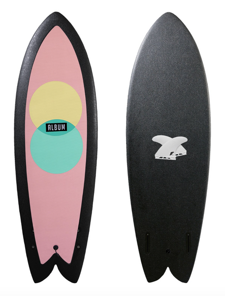 "SOFT TOP 100% RECYCLABLE  The 5'7"" Presto was a handshaped Album fish, scanned and produced in the USA with copolymer foam.  5'7"" x 21.5"" x 3"" (43.5 liters) Fins included.  2 Futures Thermotech fins. No wax needed. Extra grippy pad on the length of the deck. Unique bottom contour and rails you won't see elsewhere Made in the USA and 100% recyclable Light and durable with a copolymer core and inset stringers"