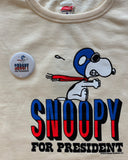 TSPTR Snoopy For President Sweatshirt. White shirt with a red white and blue design of Snoopy For President.