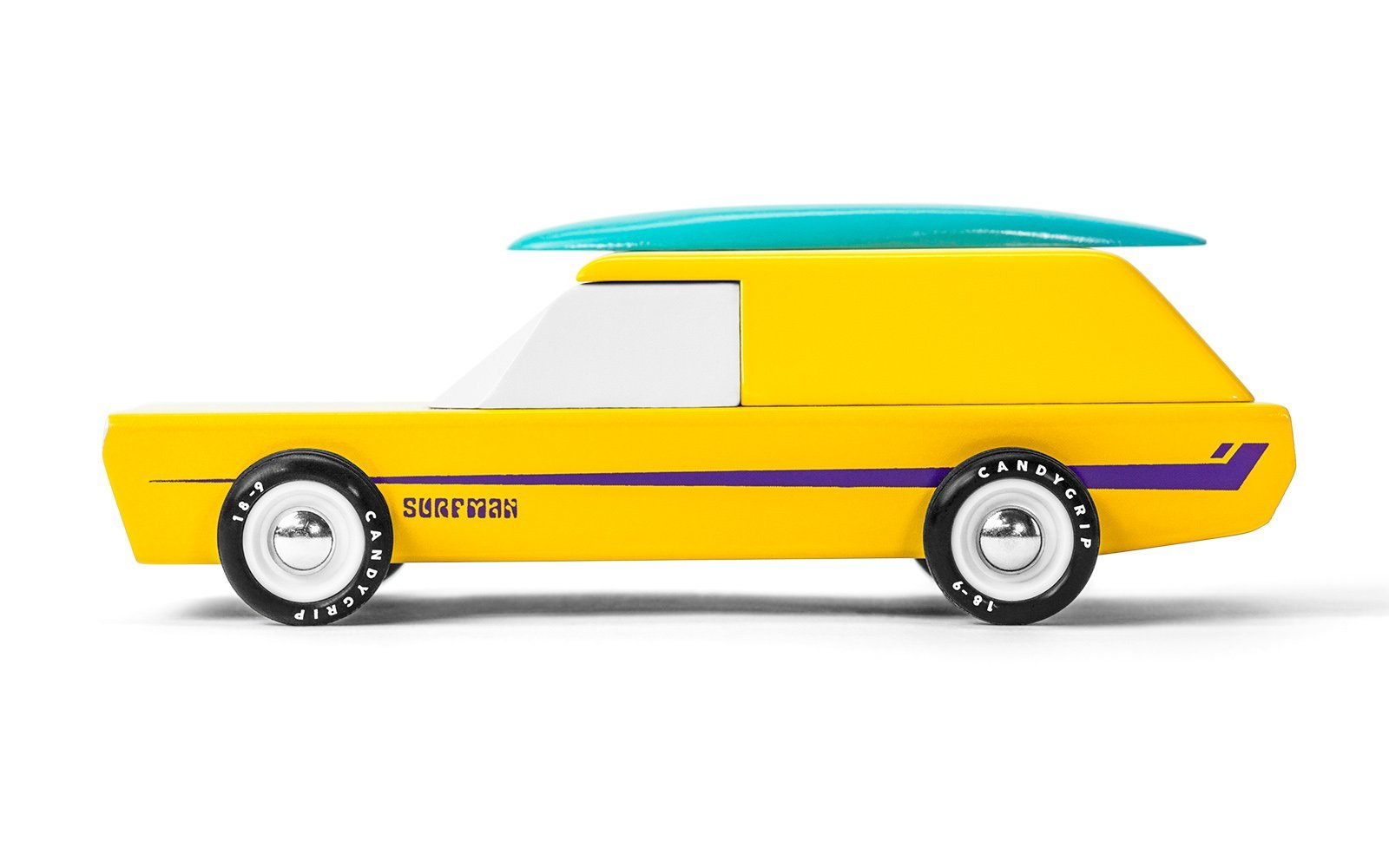 Yellow and purple striped Surfman car with a blue surfboard on top.  Solid Beech Wood, water-based paint and clear urethane coat. ABS plastic wheels.