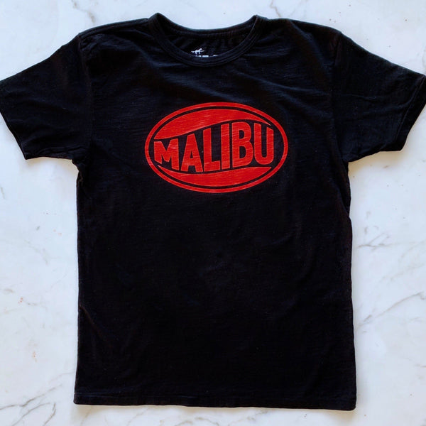 One Gun Vintage Malibu Black T-Shirt. 100% cotton. Made in Los Angeles.