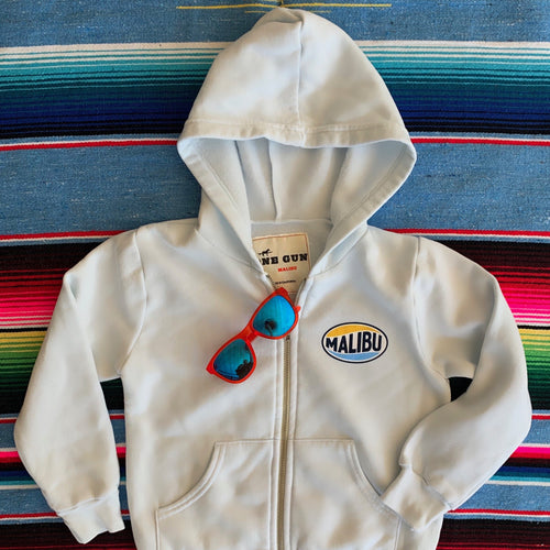 One Gun Vintage Malibu Kids white Zip Up. 100% cotton. Made in Los Angeles.