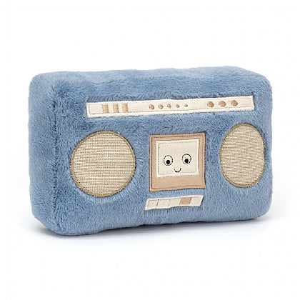 Jellycat Wiggedy Boombox. Blue plush boombox with a smiley face in the middle of the speakers.