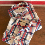 One Gun Ranch MENS Flannel. Red, white and blue flannel design. Made in Los Angeles.
