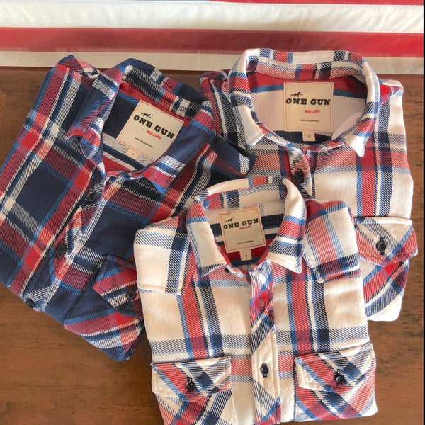One Gun Ranch Kid's Flannel. Red, white and blue flannel design. Made in Los Angeles.
