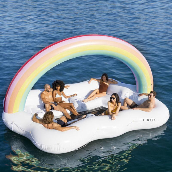 Funboy  giant rainbow cloud float with multiple seats and cupholders.