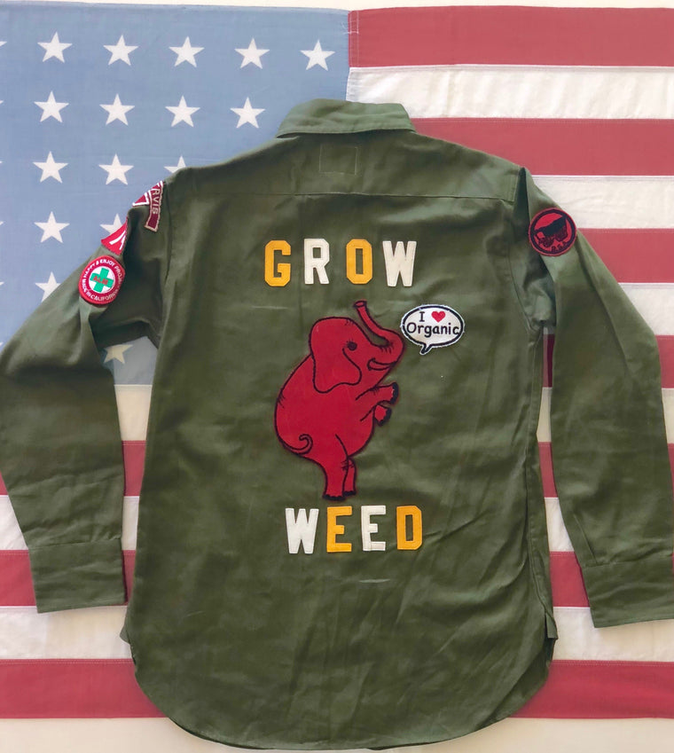 Vintage Boy Scout Shirt GROW WEED