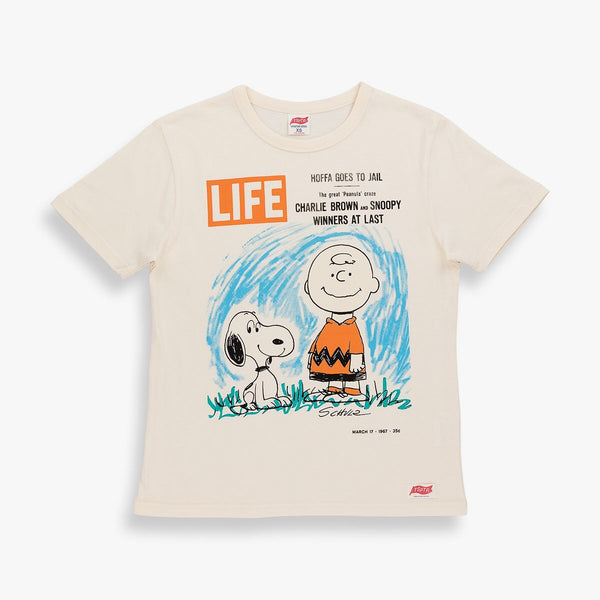 TSPTR Life Magazine T-Shirt. Beige shirt with a Life MAgazine cover of Charlie Brown and Snoopy on it.