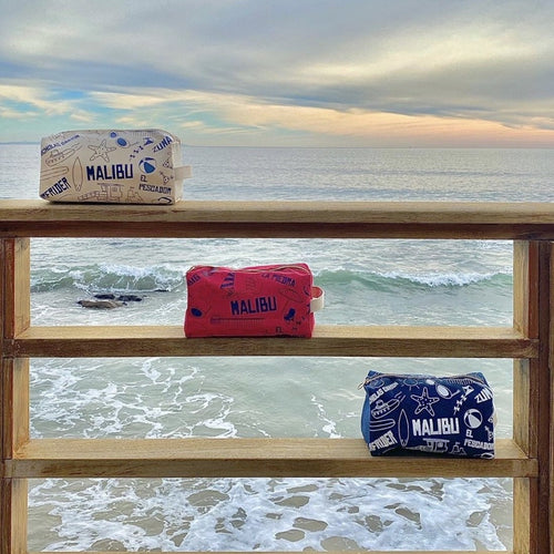 Ranch At The Pier Malibu Dopp Kit in red white and blue color