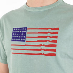 TSPTR Merica T-Shirt. A green shirt. A flag design where the stars are replaced by airplanes, and the stripes are guns.