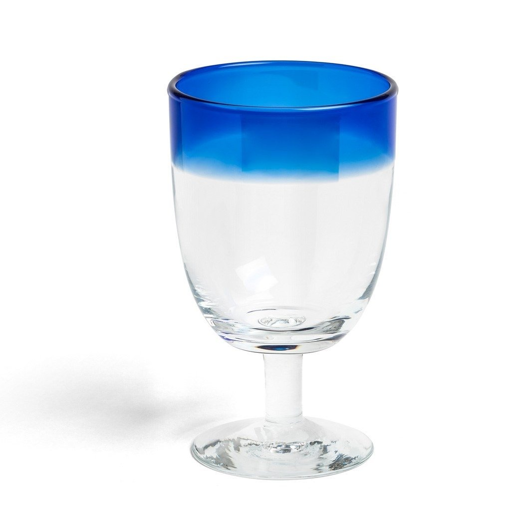 Blue tipped Daylesford Ludlow wine glass