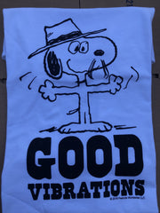 TSPTR Good Vibrations T-Shirt. White shirt with the design of snoopy wearing a fedora and the words Good Vibrations undenath