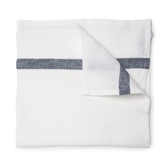 Daylesford Dylan napkin. White with a gray stripe.100% Linen. Made in India.