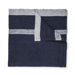 Daylesford Dylan Napkin. Navy blue with a gray stripe. 100% Linen. Made in India.