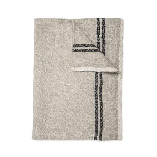 Daylesford vintage linen tea towel in tan with two black lines. 100% linen.