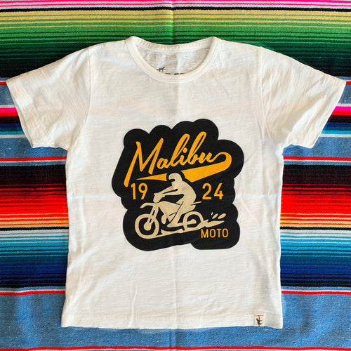 One Gun Malibu Moto Kids T-Shirts. White shirt with a black and yellow moto design