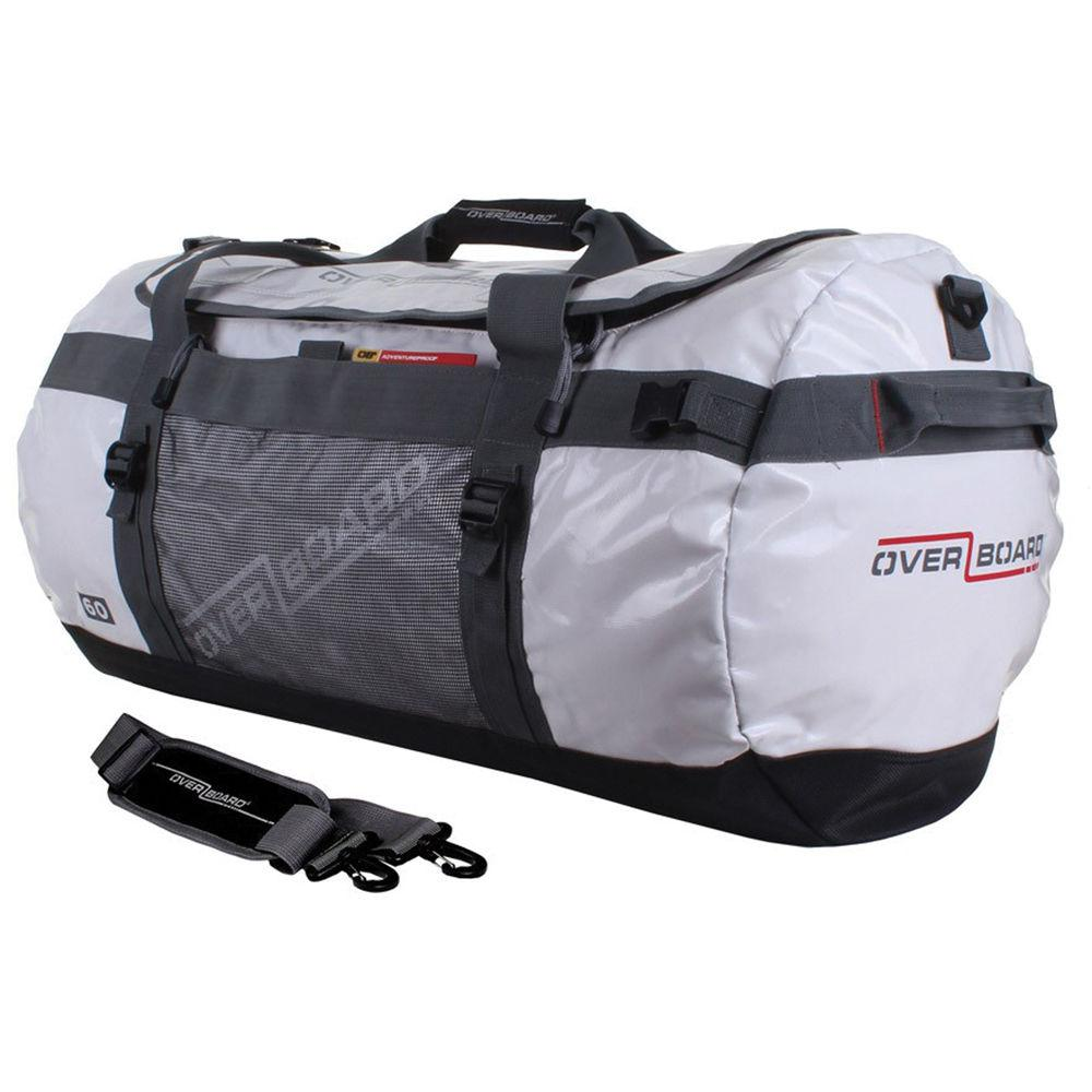 "A grayish, white 60 liter duffle bag. It has short black straps that come together at the top. There's a large zipper opening at the top that goes three quarters of the way around it. There are black handles at both side ends of the bag. There is also a long add on strap that can clip on to the sides . The logo ""Over Board"" is written on all sides of the bag."