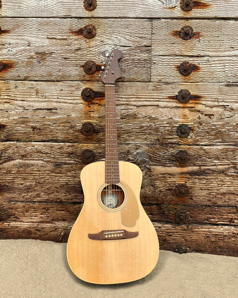 FENDER Malibu Player Guitar with a natural wood finish and dark brown accents