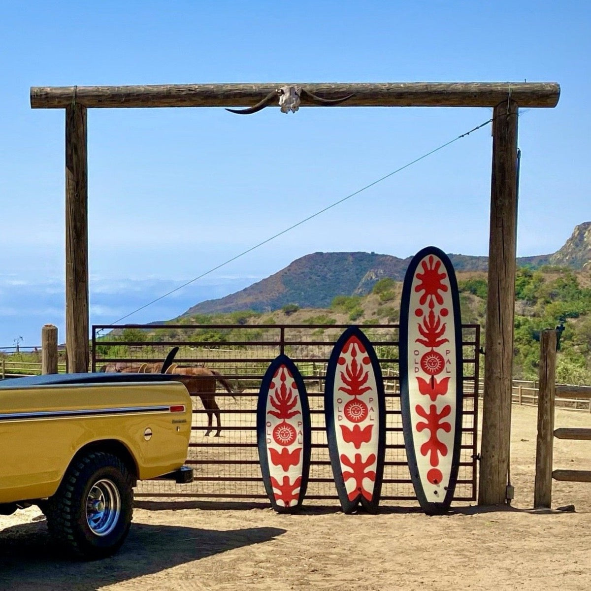 Old Pal Album Soft Top Surfboards. There is a small one on the left, a medium size on in the middle, and a long board on the right. They all have a blank trim around the boarder. The. middle has a red flower design with a tan background.