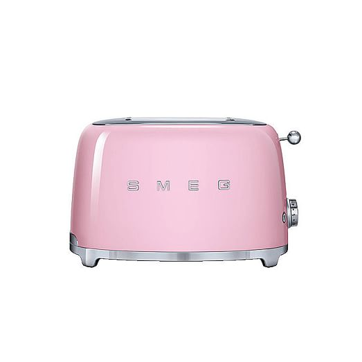 Pink and silver retro Smeg 2 Slice Toaster