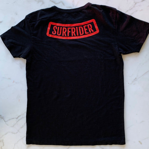 One Gun Surfrider T-Shirt. Black shirt with Surfrider written in red text across the back.