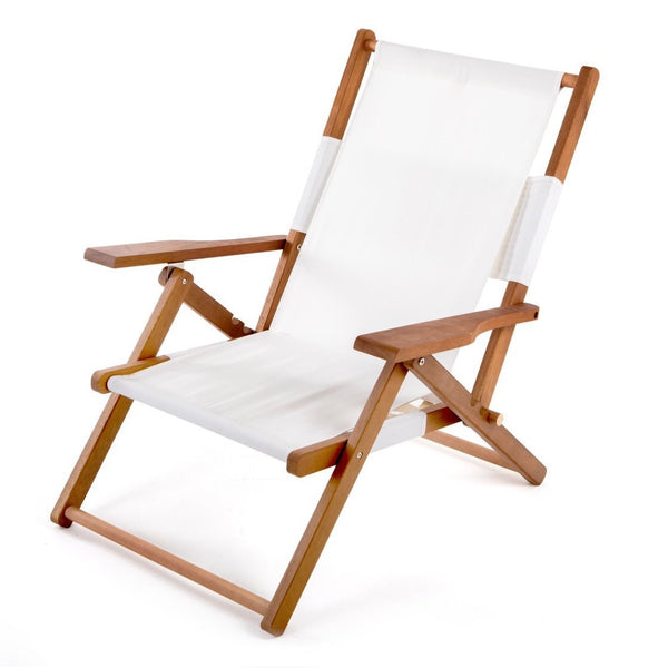 3 position reclining beach chair with large back zip pocket, armrests and soft touch outdoor canvas sling all folds up into a back pack. Business and pleasure tommy chair