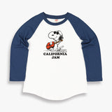 TSPTR California Jams Raglan T-Shirt. White with blue sleeves. On it is a design of snoopy playing a guitar while wearing round sunglasses.