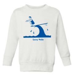 Kids Gracias Malibu white sweatshirt with a blue print design of a man surfing on a wave crouching down at the end of a surfboard. The text at the bottom reads gracias Malibu.