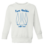 Kids gracias california sweatshirt in white with a blue image of feet at the end of a surfboard. The text reads from malibu with love.