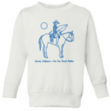 Kids white sweatshirt with a blue outline drawing of a woman riding a horse and holding a surfboard. Underneath the text reads gracias california X one gun ranch malibu