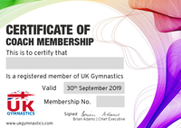 Dual Gymnast & Coach Membership April 2020 - September 30th 2020
