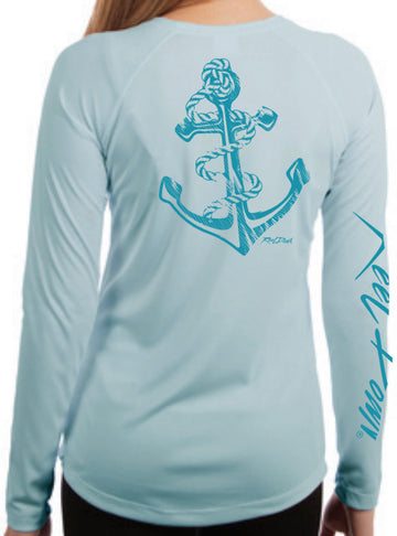 Ladies Arctic Blue Reel Down Anchor LS