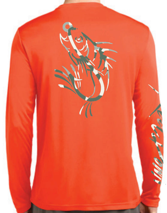 Men's Orange Camo Print Logo LS