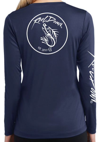 Ladies V-Neck Navy Reel Down Patch LS