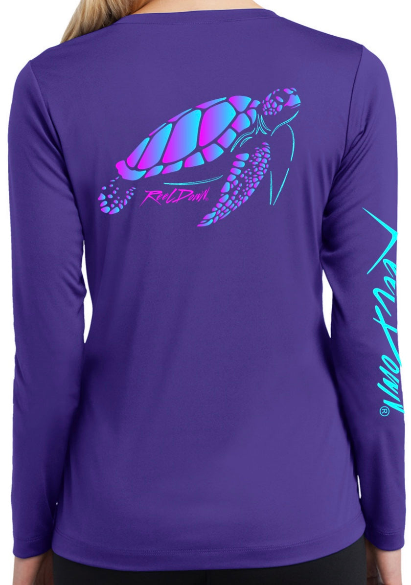 Ladies Purple RD Gear Turtle V-Neck LS
