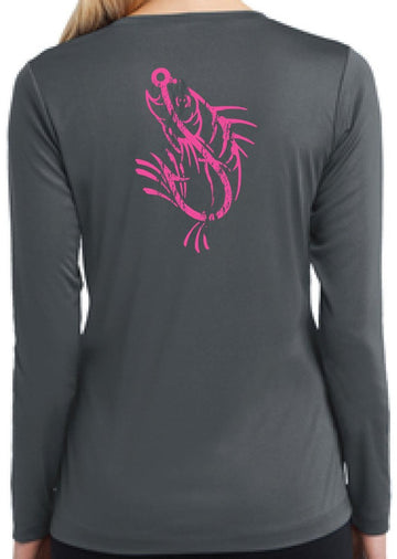 Ladies V-Neck Pink ICON Performance Long Sleeve