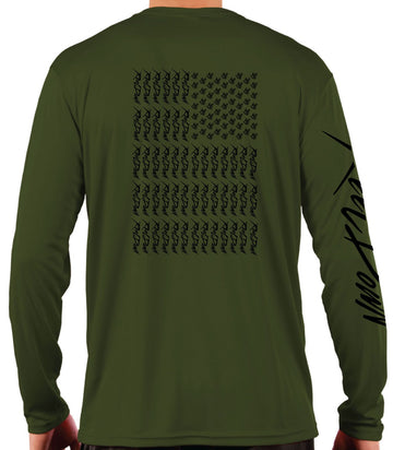 OD Green American Flag Performance Long Sleeve