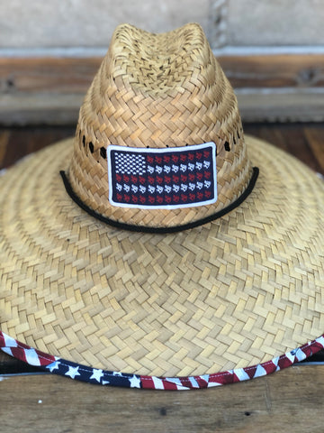 Reel Down America Flag Dock Side Straw Hats