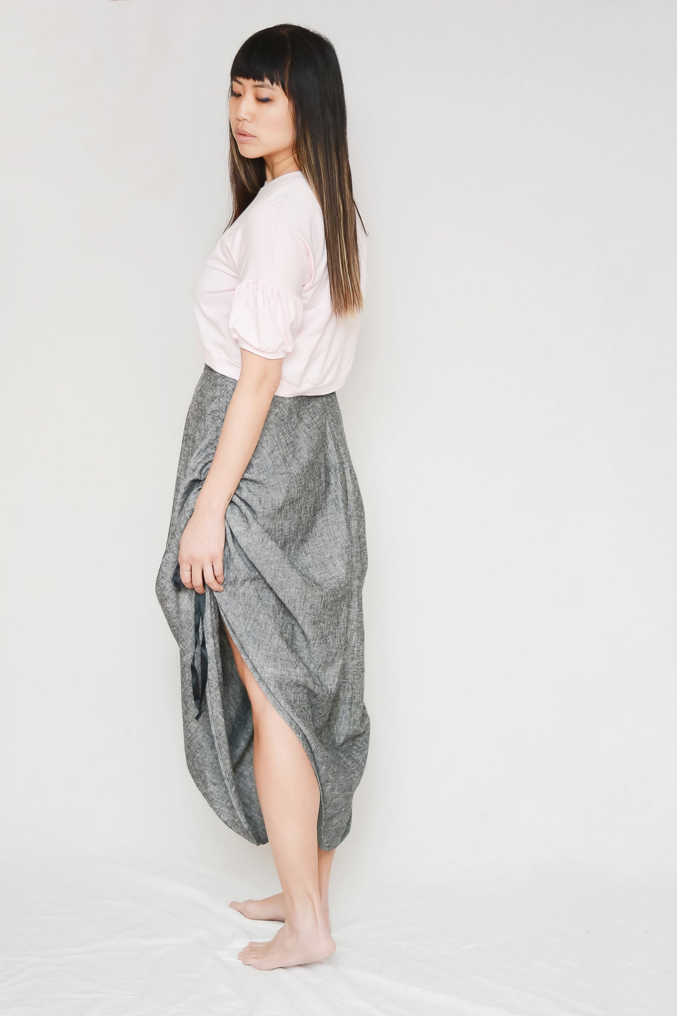 independent designer sewing patterns for women, modern design skirt sewing pattern with unique side seam detail. PDF instant download and print shop size files available.