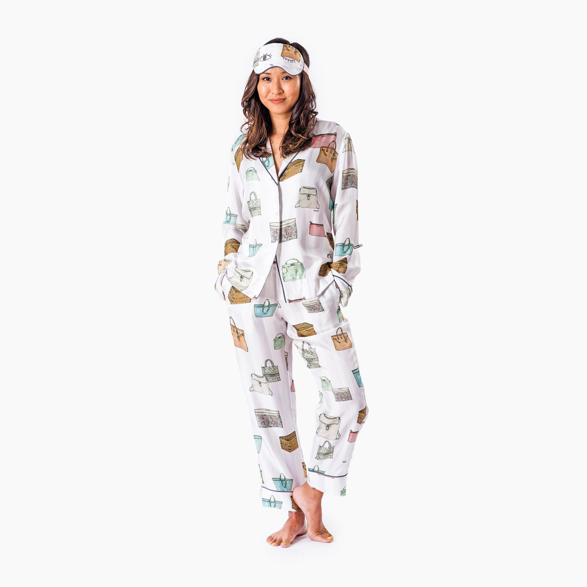 Bag Goals Long Pajama Set with Eye Mask